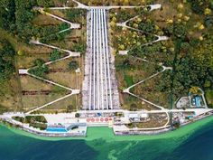 Aerial photo of gateway of hydro power station Stock Photos , Green Trees, Top View, More Photos, Birds In Flight, Summer Time, Stock Photos, Building, Travel, Viajes