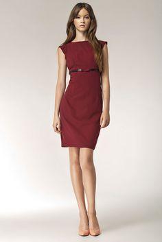913e3a28ecc Détails sur Robe courte rouge Bordeaux femme ajustée sans manches NIFE S36  36 38 40 42 44