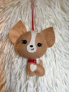 Felt Chihuahua Christmas Ornament by HappyChristymas on Etsy