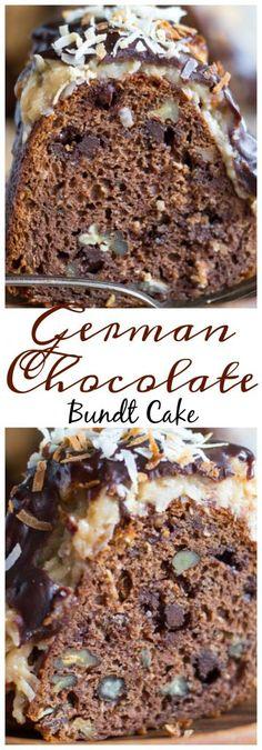 Easy German Chocolate Cake, Chocolate Bundt Cake, Chocolate Desserts, Chocolate Tarts, German Chocolate Cheesecake, German Cake, German Pound Cake Recipe, German Coffee Cake, Nutella Pie