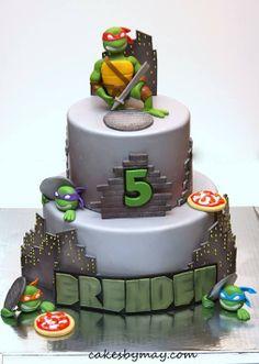 Teenage Mutant Ninja Turtles Check Out These 30 Awesome Kids Birthday Cakes Ninja Turtle Party, Ninja Turtles, Ninja Turtle Birthday Cake, Turtle Birthday Parties, 5th Birthday, Birthday Cakes, Birthday Ideas, Bolo Ninja, Ninja Cake