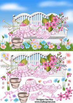 The Flower Garden Bench Decoupage