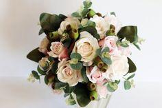 Pamona  Wedding Bouquet pale pink roses gumnuts by LaPlumeDeFleur
