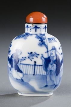 Lot 501: A Chinese porcelain snuff bottle with dignitary and attendant in garden. c.1800-1880. Estimate: $300-$500.