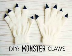 Live in a cold climate? Transform an old pair of gloves into monster claws. | 51 Cheap And Easy Last-Minute Halloween Costumes