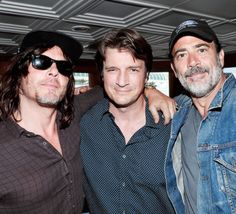Norman Reedus, Nathan Fillion, and Jeffrey Dean Morgan at SDCC 2016 on July 23, 2016.