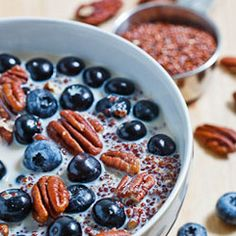 blueberry, pecan quinoa porrage. i'm willing to try this.