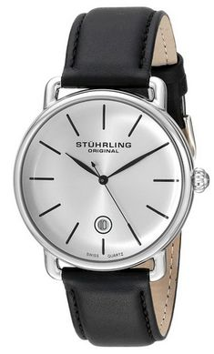 Stuhrling_Original_Men's_768.01_Ascot_Silver-Tone_Stainless_Steel_Watch_with_Black_Leather_Band