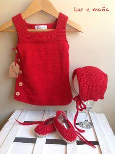 Conjunto de vestido, capota y bailarinas para bebé, hecho a mano.