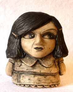 "Collectable Ceramic hand carved Art Doll ""Polly"" by DFCStudios,  #01 in the 1973 Series. (height 8 cm, width 7.5 cm) from ceramic Irish artist Darren Francis Cassidy."