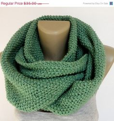 ON SALE green unisex scarf ,infinity scarf ,knitted scarf , neckwarmer , cowl neck, eternity scarf ,circle scarves on Etsy, $21.00