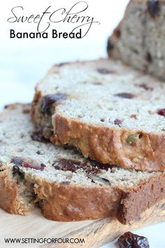 Make this delicious Sweet Cherry Banana Bread Recipe - delicious with a cold glass of milk! | www.settingforfour.com
