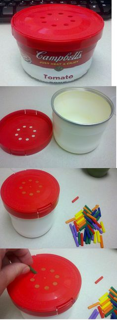 Make a fine motor activity out of a Campbells soup bowl!  The holes are already on the lid!  The bowl can also be used for storing the pieces!  Plan on trying this one. So easy.