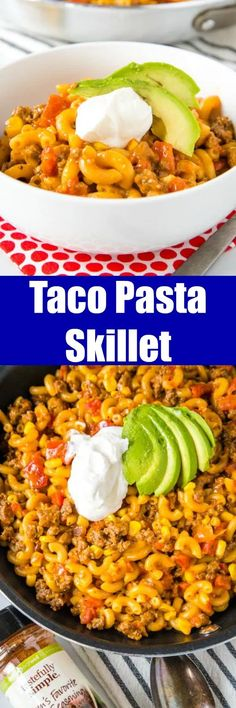 Taco Pasta Skillet - All the flavors of taco night in a one pan meal, ready in 20 minutes! Homemade version of those boxed mix meals, with just a few staple ingredients. Quick Pasta Recipes, Easy Dinner Recipes, Beef Recipes, Mexican Food Recipes, Chicken Recipes, Cooking Recipes, Skillet Recipes, Dinner Ideas, Skillet Dinners
