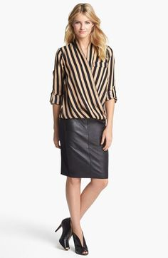 Pleione Stripe Blouse & Halogen® Pencil Skirt  available at #Nordstrom