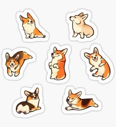 Lovey corgis in pink Sticker