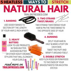5 Heatless Ways To Stretch Natural Hair Summertime is just around the corner and the last thing we need is extra heat. Here are 5 heatless ways to stretch natural hair with out heat damage. Natural Hair Care Tips, Natural Hair Regimen, Curly Hair Tips, Natural Haircare, Natural Hair Growth, Natural Hair Journey, Curly Hair Styles, Natural Hair Styles, 4c Hair