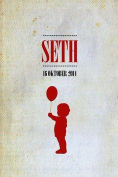 Geboortekaartje jongen - Seth - jongentje met ballon - Pimpelpluis - https://www.facebook.com/pages/Pimpelpluis/188675421305550?ref=hl (# simpel - eenvoudig - retro - naam - ventje - ballon - silhouet - kindje - origineel)
