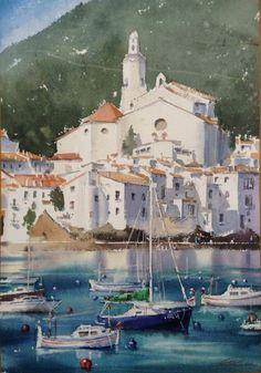 Galina Gomzina May 18 Watercolor Sea, Watercolor Landscape, Watercolor Paintings, Nature Paintings, Landscape Paintings, Landscape Photography, Art Photography, Sea Photo, Urban Sketching