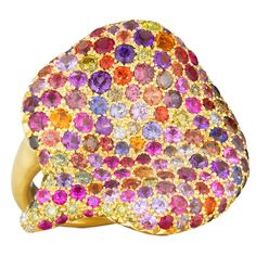 Naomi Sarna Amethyst Garnet Ruby Sapphire Diamond Gold Autumn Ring | From a unique collection of vintage fashion rings at https://www.1stdibs.com/jewelry/rings/fashion-rings/