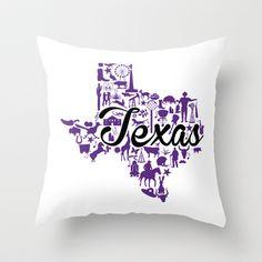 TCU Texas Landmark State - Purple and Black TCU Theme Throw Pillow by Painted Post - $20.00