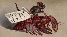 Nothing says Merry Christmas like this Victorian card... Old card of a mouse riding a lobster, 1880 The card wishes the recipient 'Paix, Joie, Sante, Bonheur' or 'Peace, Joy, Health and Happiness'.