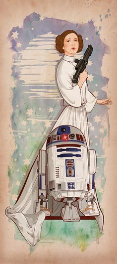 [NO LONGER AVAILABLE] Princess Leia & R2D2 by Cryssy Cheung, 8X18 Print, signed by the artist