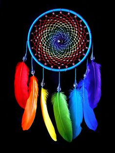 Rainbow Catcher ★ 100% rainbow! ★ Two sizes to choose ★ Ready to ship This unique dream catcher will be a beautiful addition to your room decor. The web features solid crystall ball in the center and is spangled with sparkling beads. Colorful feathers, hanging from the hoop, are