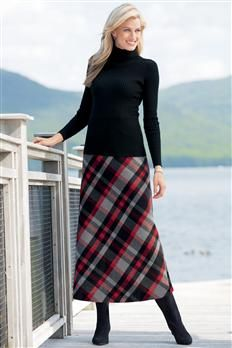 Ribbed Turtleneck & Long Wool Blend Skirt | Chadwicks