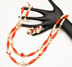 orange white  bead necklace earring set by serendipitytreasure