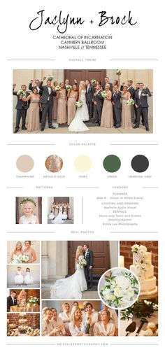 Champagne, metallic golds, ivory, charcoal grey make a beautiful color palette for a modern wedding! Jaclyn and Brock at cathedral of incarnation wedd. Champagne Wedding Colors Scheme, Grey Wedding Theme, Gold Wedding Colors, Ivory Wedding, Wedding Color Schemes, Wedding Themes, Dream Wedding, Metallic Wedding Theme, Wedding Dresses