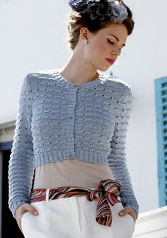 Tourmaline by Martin Storey. Cropped cardigan with a pattern of eyelets is knitted in sumptuous mulberry silk. Free Knitting Patterns For Women, Knitting Designs, Knit Patterns, Vintage Patterns, Knitting Projects, Bolero Pattern, Cardigan Pattern, Free Pattern, Plus Size Patterns