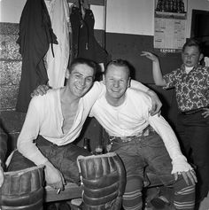 Bower and Sawchuk share a happy moment together. The notoriously prickly Sawchuck and jovial Bower made a strong contrast. But in the end, both men played superbly and helped the Leafs win the Cup in It would be the last for all involved.