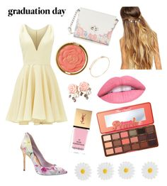 """cute graduation outfit"" by sparklesofglitter ❤ liked on Polyvore featuring Allison Parris, Ted Baker, Milani, Yves Saint Laurent, Too Faced Cosmetics, Johnny Loves Rosie, Candie's, Monsoon and graduationdaydress"