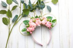 Disney Mouse Ears, Baby Mouse, Minnie Mouse, Minnie Birthday, Birthday Ideas, Mouse Ears Headband, Artificial Silk Flowers, Real Flowers, Pink And Gold
