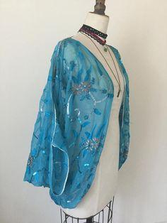 1920's shrug 1920's vintage turquoise kimono flapper