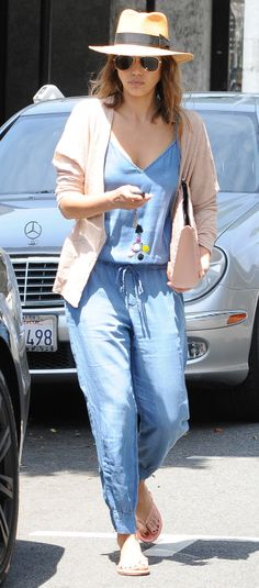 Jessica Alba has a perfect Spring alternative to jeans: a chambray jumpsuit!