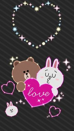 Lines Wallpaper, Heart Wallpaper, Wallpaper Iphone Cute, Wallpaper Backgrounds, Cony Brown, Brown Bear, Bear Gif, Wallpaper Fofos, Cute Love Gif