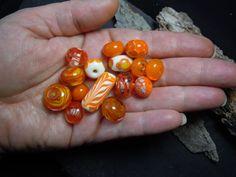 Mixed Orange. Orphan Glass Bead Set. Handmade by PLJohnsonGlassArt