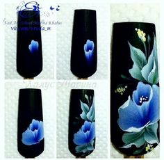 fleurs one stroke Uñas One Stroke, One Stroke Nails, Trendy Nail Art, Cool Nail Art, Nail Art Fleur, Nail Art Designs, Nailart, Wedding Manicure, Nails First
