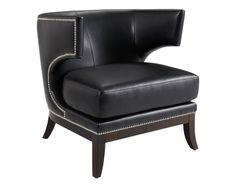 Modern Chair upholstered in Black Bonded Leather with an espresso frame and legs
