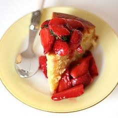 Lemon Buttermilk Cake with Strawberry & Pimms Compote