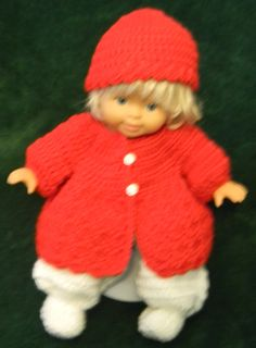 "Red sweater, hat and white footed pants for 14"" doll."