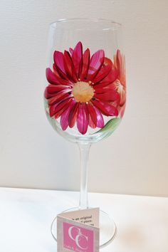 Hand painted 16oz. Red/Orange Gerber Daisy Wineglass.  Perfect for your favourite wine.  Great for Mother's Day, Birthdays, Teacher's gifts by CCCraftsatHome on Etsy