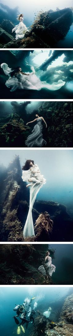 Montreal-based photographer Benjamin Von Wong, who wowed us with his shockingly creative photos of a man on fire, is no stranger to epic concepts and photo shoots. His most recent adventure may have been one of his most ambitious yet: a large-scale shoot Underwater Model, Underwater Photos, Underwater Photography, Underwater Shipwreck, Creative Photography, Art Photography, Fashion Photography, Foto Fashion, Creative Photos