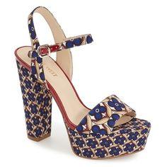 """Nine West 'Carnation' Platform Sandal, 5"""" heel ($70) ❤ liked on Polyvore featuring shoes, sandals, blue multi, blue velvet shoes, ankle tie sandals, platform shoes, ankle strap platform sandals and ankle strap sandals"""