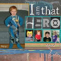 """Architectural Photo Letters Scrapbook Pages - I Am That Hero  This digital layout by Jennifer Schmidt was done using Digital Scrapbook Artist. She took photo of items in her son's bedroom to create the title word """"HERO."""""""