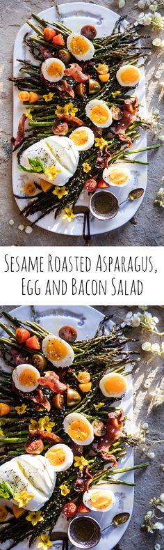 Sesame Roasted Asparagus, Egg and Bacon Salad | halfbakedharvest.com @hbharvest
