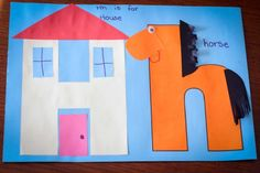 Preschool Letter H CVC craft: H is for House, h is for horse