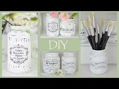 Shabby French Painted Jars {Create a Shabby Chic effect & decorate with French decals} - YouTube